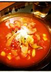 ウィンナーゴロゴロのホットなトマトスープ