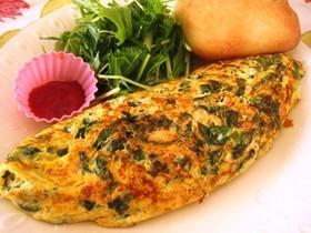 塩鮭と小松菜のオムレツ
