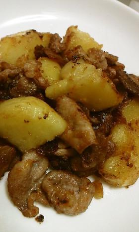 豚肉とじゃが芋の焦がし味噌マヨガーリック