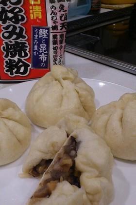 筑前煮リメイク☆お好み焼き粉で中華まん