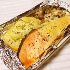 鮭の味噌マヨホイル焼き♪