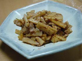 筍と豚肉のゴマ味噌炒め