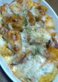 俺流の里芋とソーセージのチーズ焼き♪