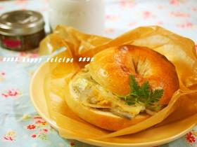 レンコンとチーズの和風ベーグルサンド