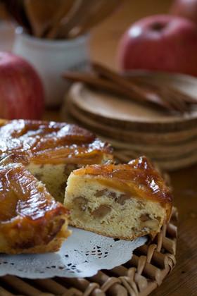 キャラメル林檎と胡桃のケーキ