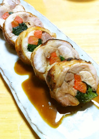 【お弁当・お重】レンチン鶏肉の野菜巻き