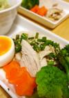 蒸し鶏と温野菜の葱ソースがけ