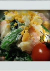 ■糖質制限■卵ほうれん草えび簡単サラダ朝