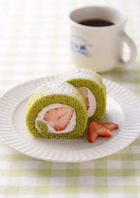 バター好きの♪雛祭りに❤抹茶ロールケーキ