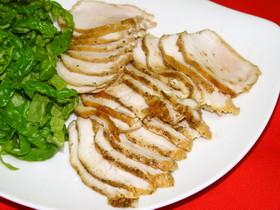 鶏むね肉+しょうゆ+塩+オリーブオイル