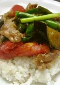 凄~く旨い夏野菜と豚バラのアジアンご飯