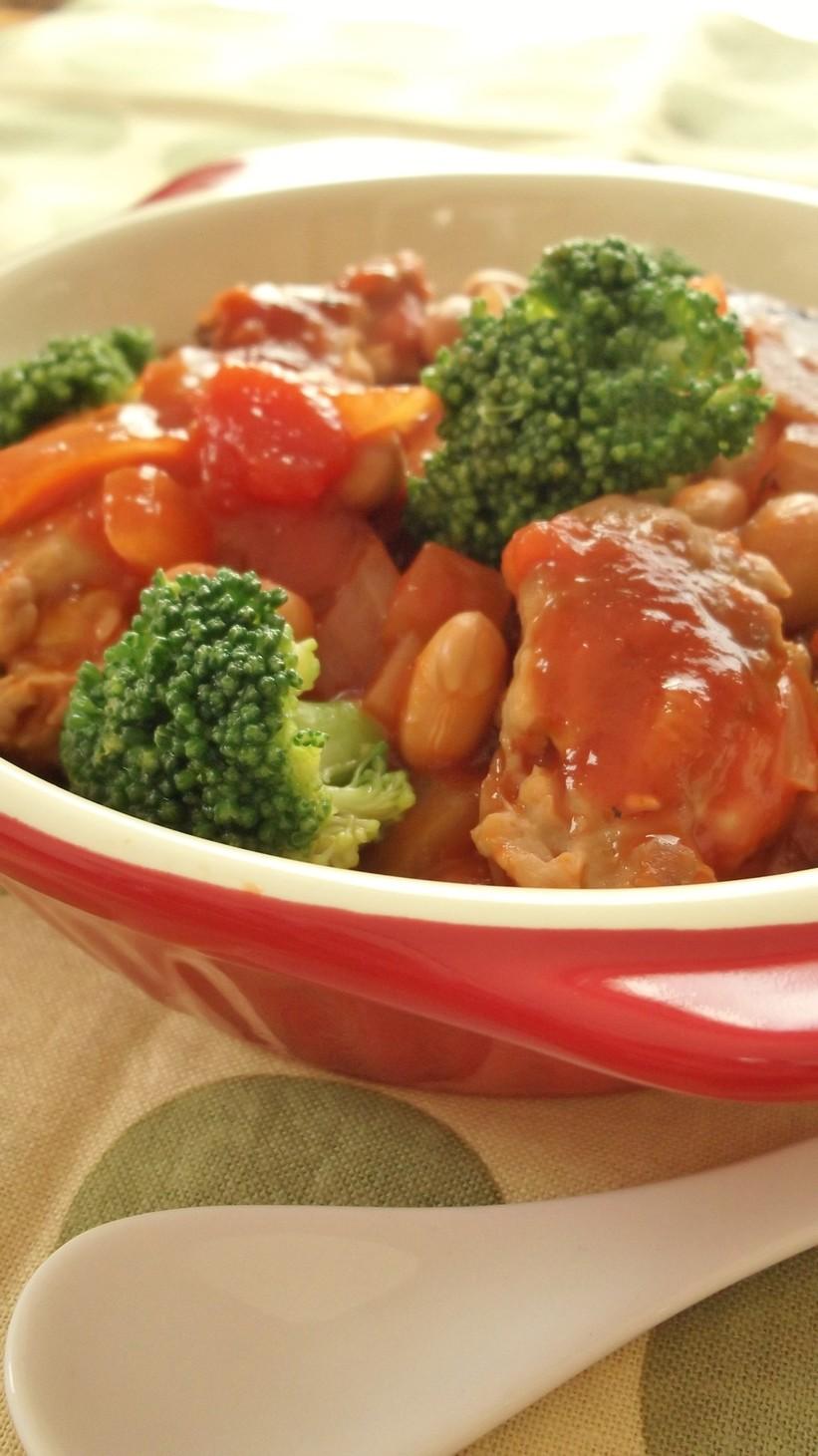 節分に●いわしつみれと大豆のトマト煮●