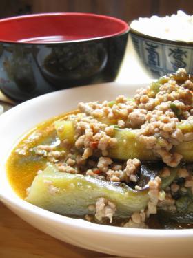 茄と豚挽き肉のピリ辛味噌炒め