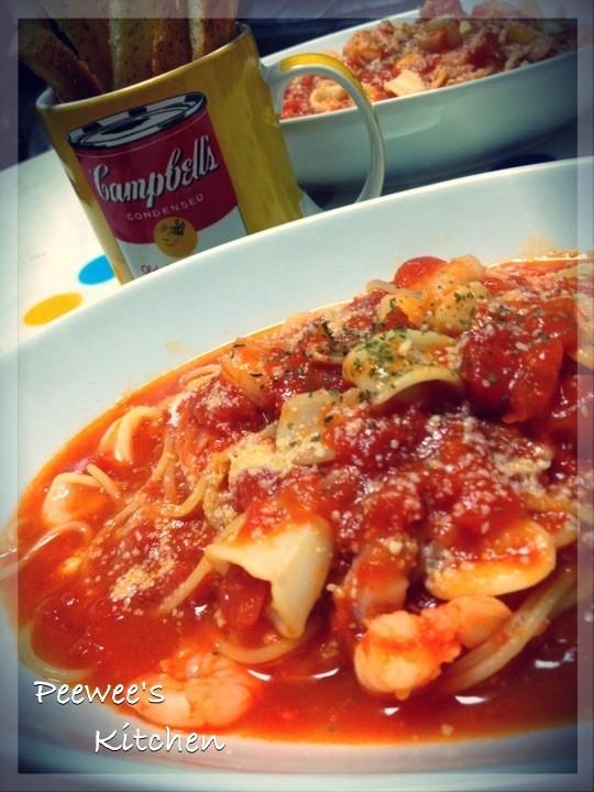 シーフード★トマトスープパスタ