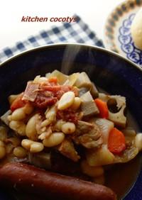 白いんげん豆とソーセージの煮込み