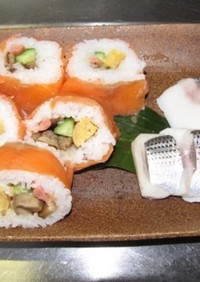 スモークサーモンの巻き寿司