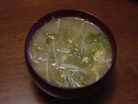 水菜と卵の酸っぱいスープ