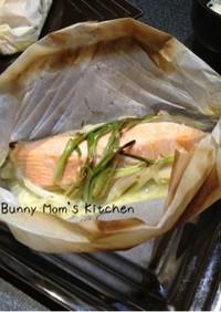 簡単美味しい★鮭と玉ねぎの奉書包み焼き風
