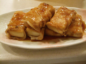 高野豆腐の豚肉巻き☆甘辛タレ