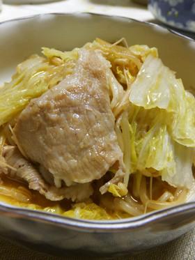 白菜と豚肉ともやしのポン酢蒸し煮