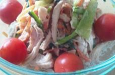 小松菜と鶏の胡麻マヨサラダ