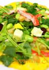ミックス豆と三つ葉オープンオムレツピザ風