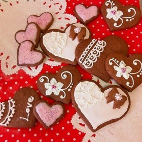 バレンタインのアイシングクッキー