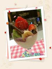 豆腐クリームのフルーツカクテルの写真