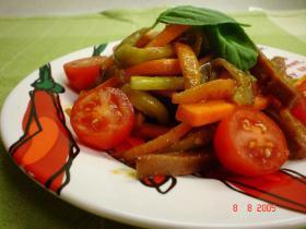 夏野菜とスパムのケチャップ炒め
