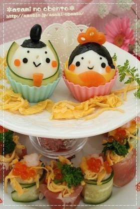 ひな祭り*お雛様寿司オードブル・キャラ弁