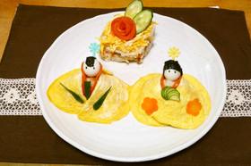ちらし寿司でお雛様とお内裏様☆