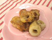 お弁当に竹輪のお好み・焼きそばソース炒めの写真