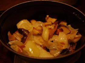 原木 椎茸とネギ・ベーコンのココット蒸し