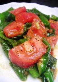 ピリッとニンニク風味のトマトピーマン