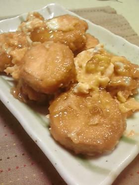 簡単:薩摩芋の天麩羅で作る甘辛卵とじ