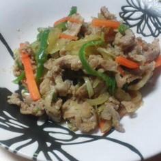 めんつゆで野菜たっぷり生姜焼き