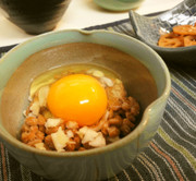 *卵かけご飯*納豆ネギ卵*の写真