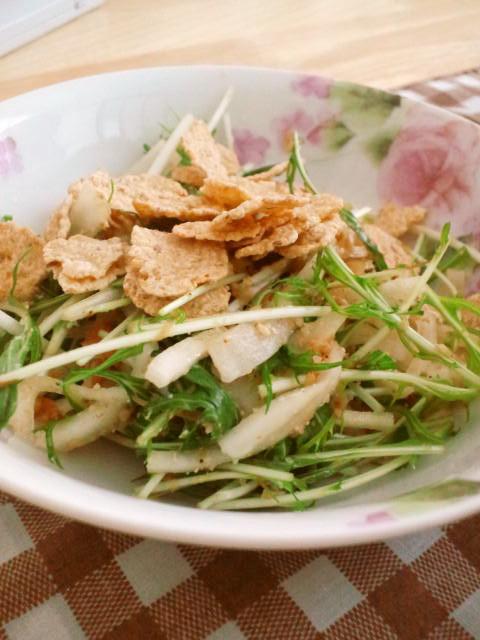 玄米フレークで♪水菜と大根のサラダ