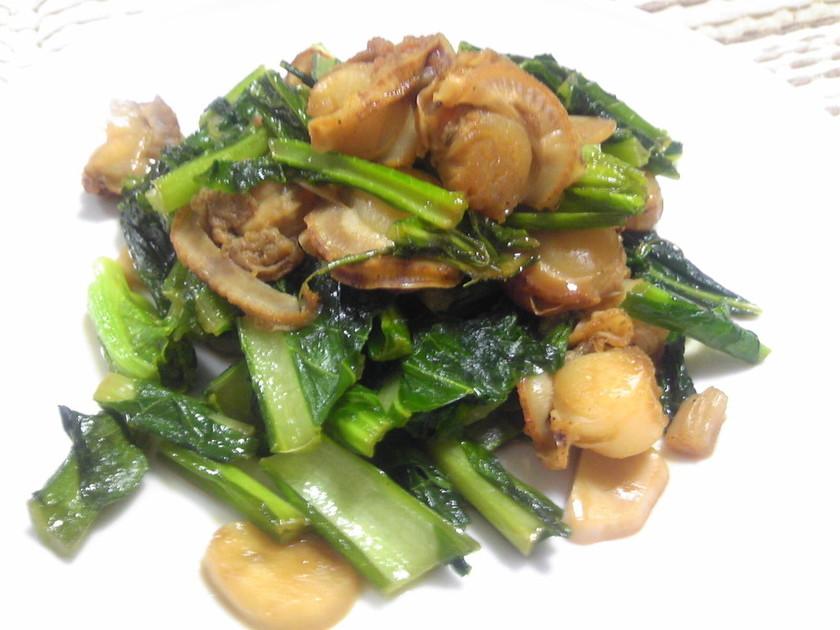 ほたてと小松菜のにんにくオイスター炒め