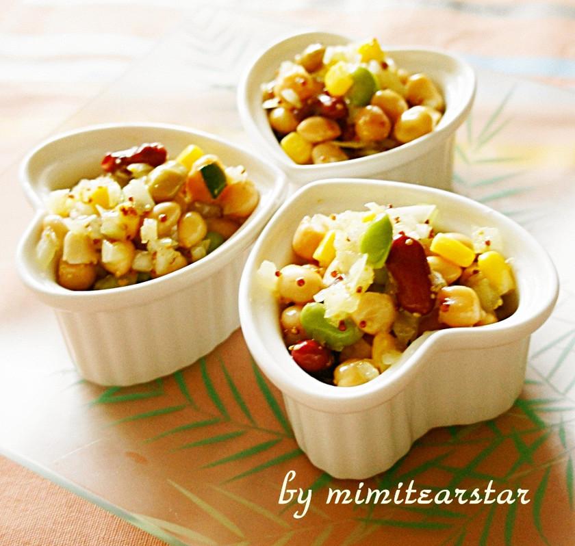コーンとミックス豆の粒マスタードサラダ