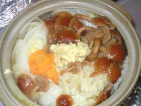 豆腐と野菜・なめこのしょうが鍋