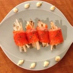 身体に嬉しいオードブル菊芋のサーモン巻