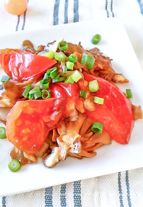 シンプルに♪トマトと舞茸の醤油蒸し