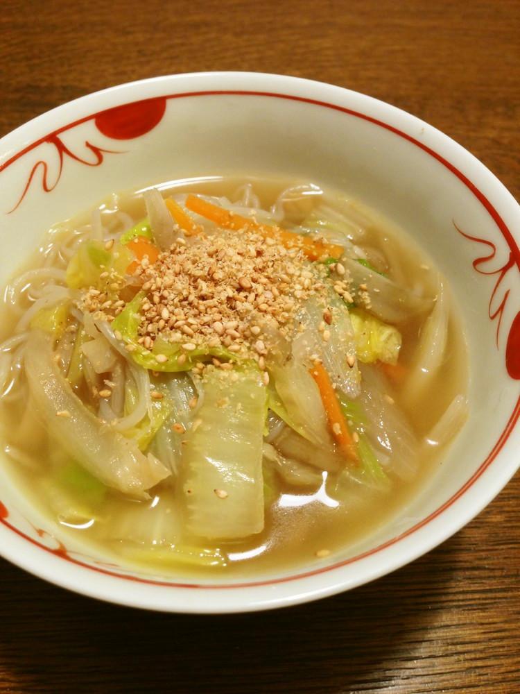 白菜としらたきの具だくさん中華スープ