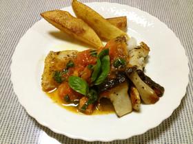 鱈のバジルトマトソース