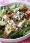 揚げ玉&豆腐&アボカドの簡単麺つゆサラダ