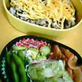 お弁当 ひじきご飯と生姜焼き