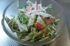 簡単3分♪水菜とスモークサーモンのサラダ