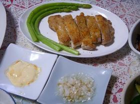 モモ肉と辛マヨソース