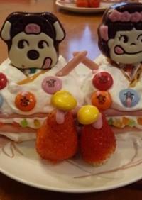 好きにしてっ!子供と一緒にお雛様のケーキ